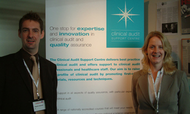 Stephen Ashmore and Tracy Ruthven exhibiting at the International Society for Quality in Healthcare conference in London.