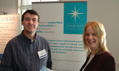 John Calvert winner of the CASC prize draw with Tracy Ruthven of the Clinical Audit Support Centre.